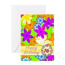 16th birthday, with fabulous flowers Greeting Card