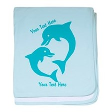 CUSTOM TEXT Cute Dolphins baby blanket