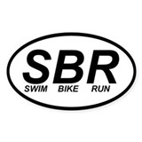 swim bike run triathlon sticker (oval)