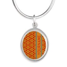 Floral Pattern Personalized Silver Oval Necklace