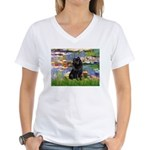 Lilies (2) & Schipperke Women's V-Neck T-Shirt