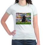 Lilies (2) & Schipperke Jr. Ringer T-Shirt