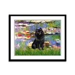 Lilies (2) & Schipperke Framed Panel Print