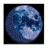 Celtic Knotwork Blue Moon Tile Coaster