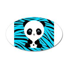 Panda on Teal Black Zebra Wall Decal