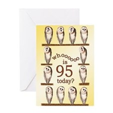 95th birthday with curious owls. Greeting Cards