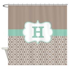 Beige Mint Green Quatrefoil Monogram Shower Curtai