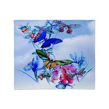 Take Flight! Butterfly Orchid Art Throw Blanket