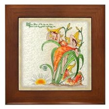 1889 Day Lilies Framed Tile