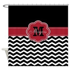 Black Red Chevron Personalized Shower Curtain