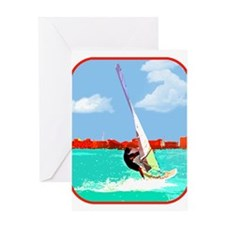 Windsurfing in the Harbor Greeting Cards