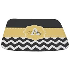 Yellow Gray Chevron Monogram Bathmat