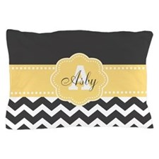 Yellow Gray Chevron Monogram Pillow Case