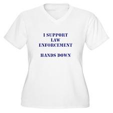 I support law enforcement hands down Plus Size T-S