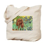 Irises & Ruby Cavalier Tote Bag