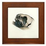 Pug Illustration -  Framed Tile