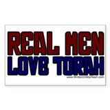 """Real Men Love Torah"" Rectangle Decal"