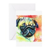 Tan Pug Glamour Greeting Cards (Pk of 10)