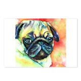 Tan Pug Glamour Postcards (Package of 8)