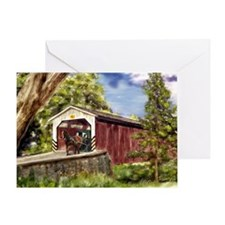 Amish Buggy on Covered Bridge Greeting Cards