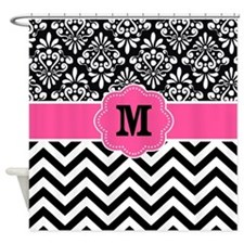 Pink Black Damask Chevron Monogram Shower Curtain