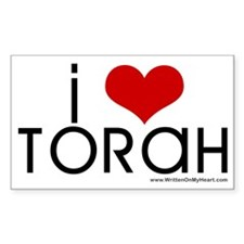 """I Love Torah"" Rectangle Decal"