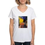 Cafe & Schipperke Women's V-Neck T-Shirt