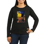 Cafe & Schipperke Women's Long Sleeve Dark T-Shirt