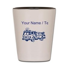 Custom Blue Fire Truck Shot Glass