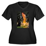 Fairies & Schipperke Women's Plus Size V-Neck Dark