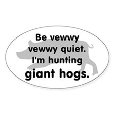 Hunting Giant Hogs Oval Decal