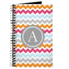 Blue Pink Orange Chevron Monogram Journal