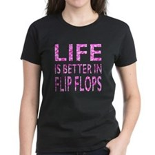 Life Is Better In Flip Flops Pink Camo T-Shirt