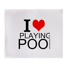 I Love Playing Pool Throw Blanket