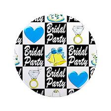 "BLUE BRIDAL PARTY 3.5"" Button (100 pack)"