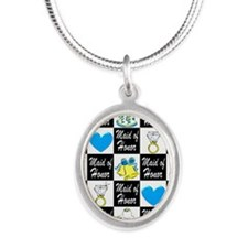 BLUE MAID OF HONOR Silver Oval Necklace
