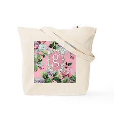 Letter G Monogram Pink Roses Floral Tote Bag