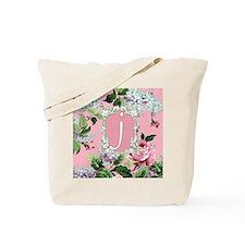 Letter J Monogram Pink Roses Floral Tote Bag
