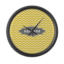 Yellow Gray Chevron Personalized Large Wall Clock