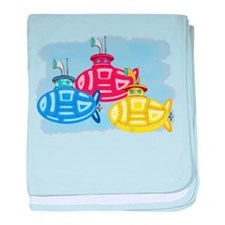 Funny Submarines baby blanket