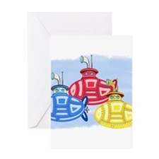 Crayon Colored Trio of Submarines Greeting Cards