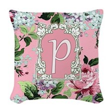 Letter P Floral Pink Monogram Woven Throw Pillow