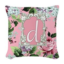 Letter D Floral Pink Monogram Woven Throw Pillow