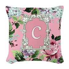 Letter C Floral Pink Monogram Woven Throw Pillow