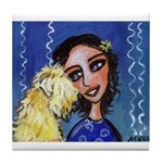 SOFT COATED WHEATEN TERRIER LAdy blue Tile Coaster