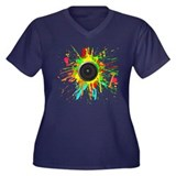 See The Music! Women's Plus Size V-Neck Dark T-Shi