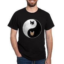 Black Cat & Tabby Yin Yang T-Shirt