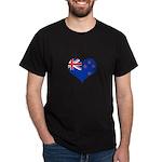 New Zealand Flag Heart Dark T-Shirt
