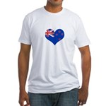 New Zealand Flag Heart Fitted T-Shirt