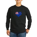 New Zealand Flag Heart Long Sleeve Dark T-Shirt